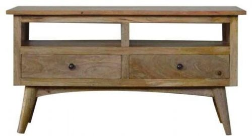 Mango Wood TV Unit With 2 Lower Drawers And 2 Shelves